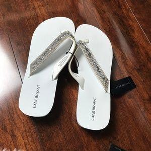 Lane Bryant White Embellished Wedge Sandal 9/10W